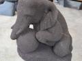 Patung Gajah Duduk Main Bola Batu Candi G. Merapi