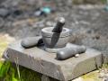 Lumpang dan Alu Batu Merapi Ukuran Kecil