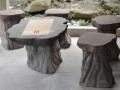 Meja dan Kursi Batu Alam Merapi Ukiran Natural Kombinasi Batu Putih