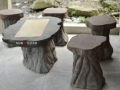 Meja dan Kursi Batu Alam Merapi Ukiran Natural