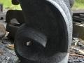 Patung Ikan Koi Batu Alam Merapi Tampak Samping