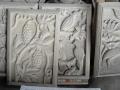 Relief Dinding Batu Putih Motif Ornamen Buah Anggur, Burung Bangau, Burung Merpati