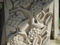 Relief Dinding Batu Putih Motif Ornamen Bunga Kamboja