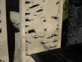 Relief Dinding Batu Putih Motif Ukiran Ikan Hias Mas Koki