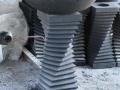 Wastafel Batu Alam G. Merapi dengan Cagak Ulir-Ulir