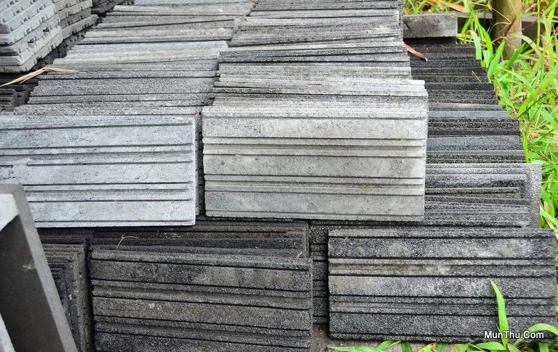 Tegel / Ubin Bentuk Alur Batu Alam Candi Merapi