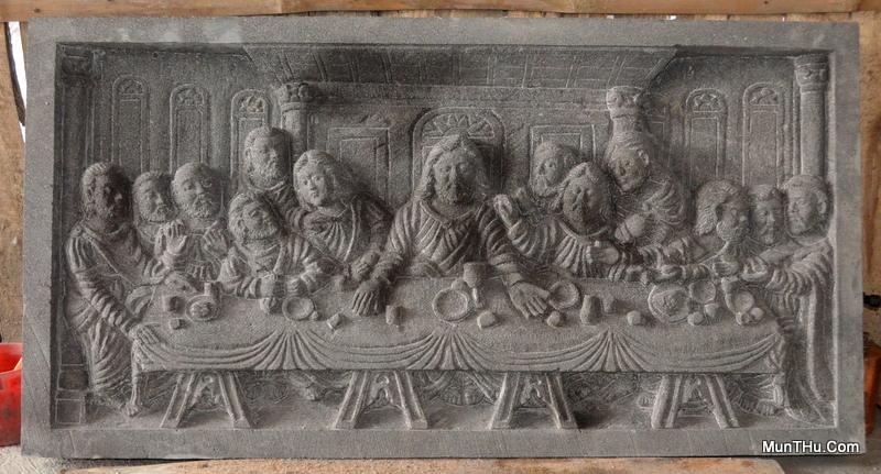 Relief Perjamuan Terakhir aka The Last Supper Leonardo da Vinci Batu Alam Merapi