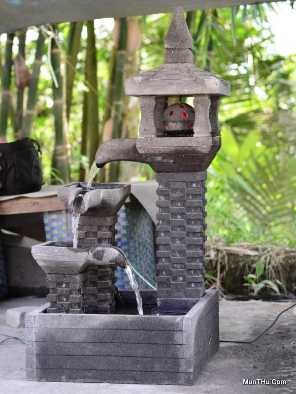 Air Mancur Batu Asli Eksotis: Tingkat 3, Lampion Bola Putar dan Atap Ukir Genteng
