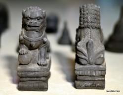 Miniatur Patung Singa Samsi Penjaga Pintu Cetakan Batu MN3