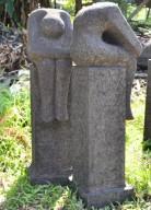 Patung Taman Orang Duduk Batu Alam Merapi