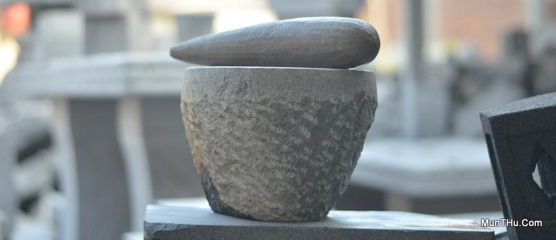 Lumpang dan Alu Batu Kali Asli