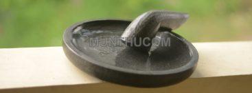 Cobek Batu Kali Hitam / Watu Item: Super Halus Tahan Jamur (Kondisi Basah))