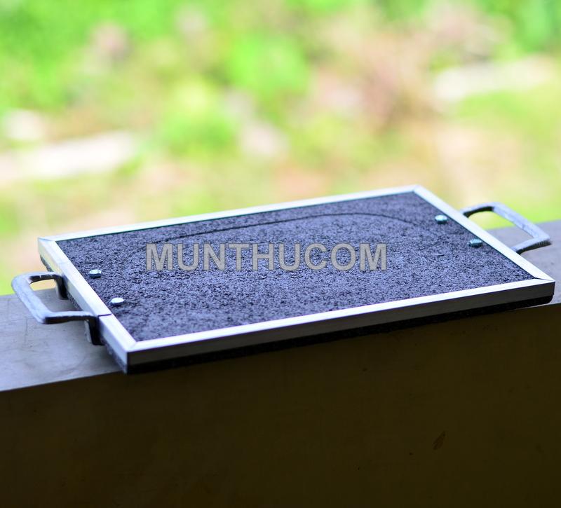 Batu Bakar Merapi Ukuran 20x30 dengan Pegangan Alumunium (Handle)